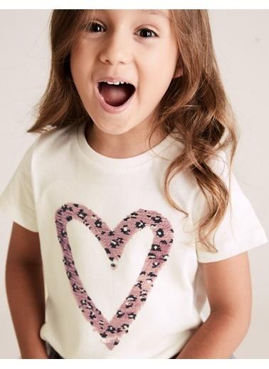 Marks & Spencer Kalp Baskılı T-Shirt Beyaz